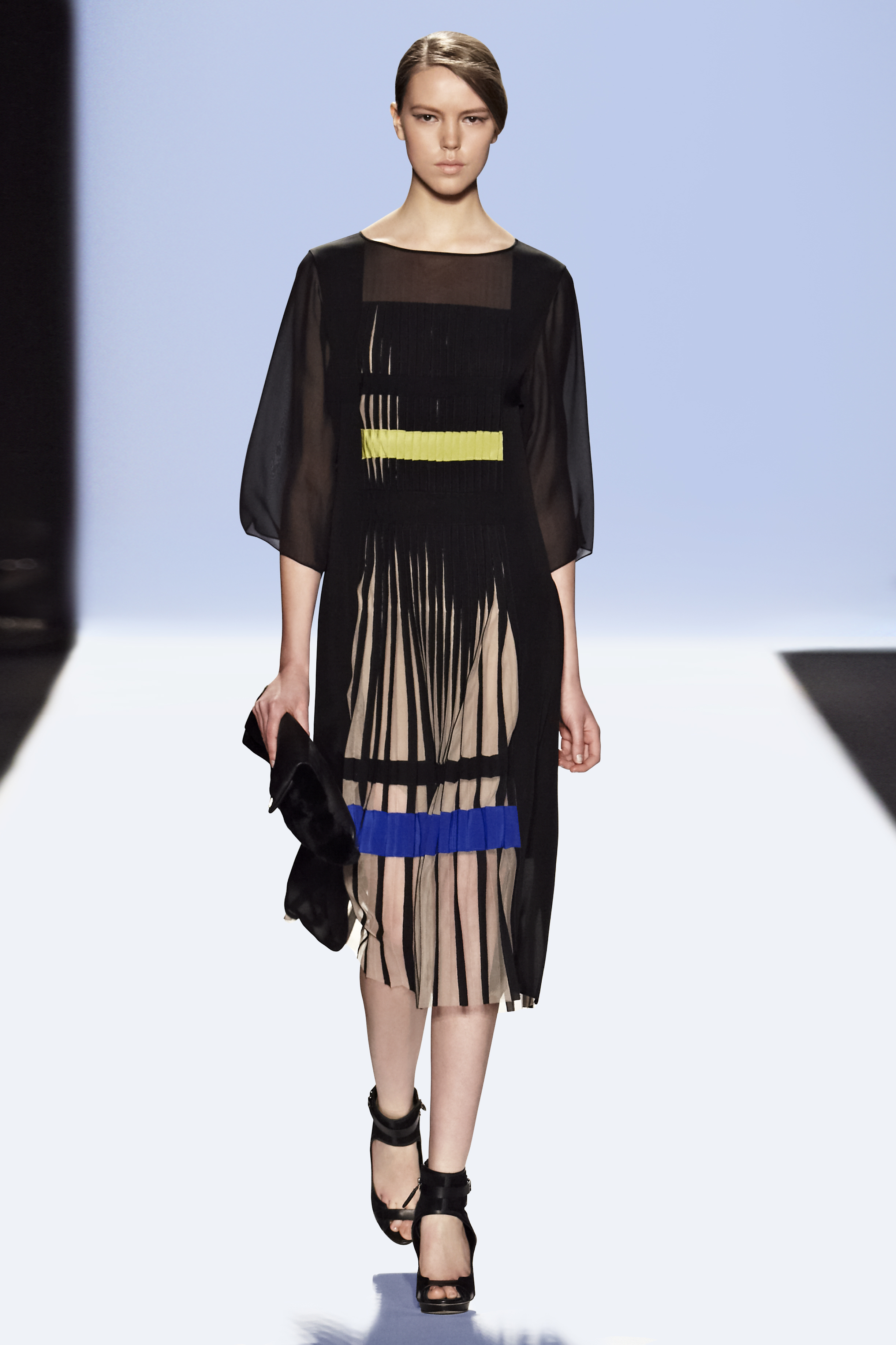 The pleats in this BCBG dress are typical of the details shown this fall