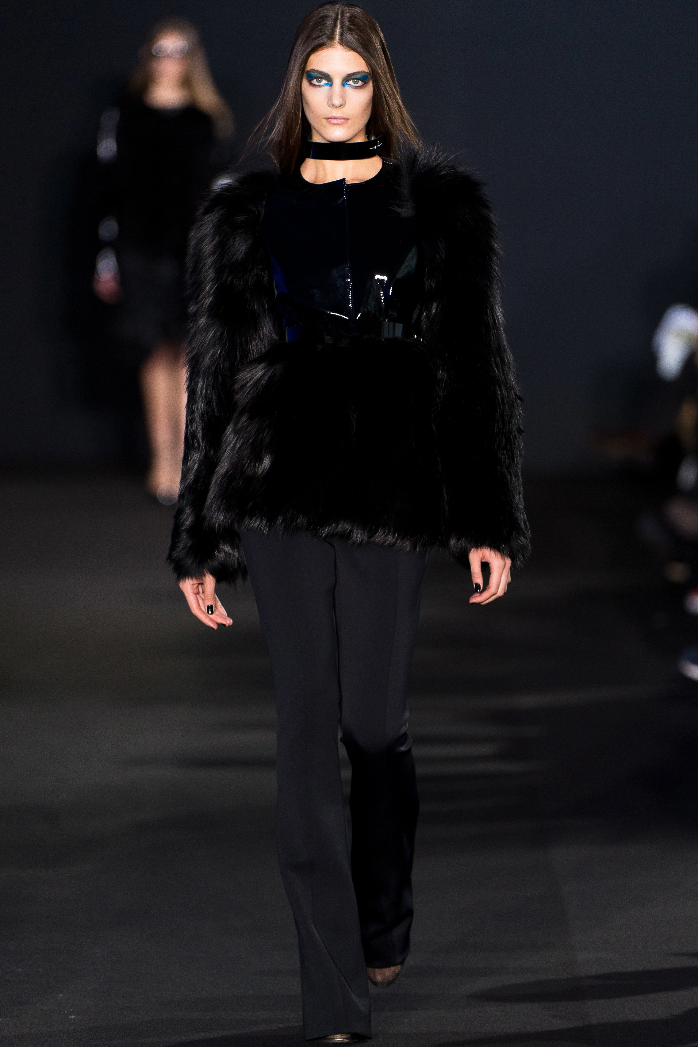 Prabal Gurung fox and goat hair jacket and Neoprene pants create a sophisticated look