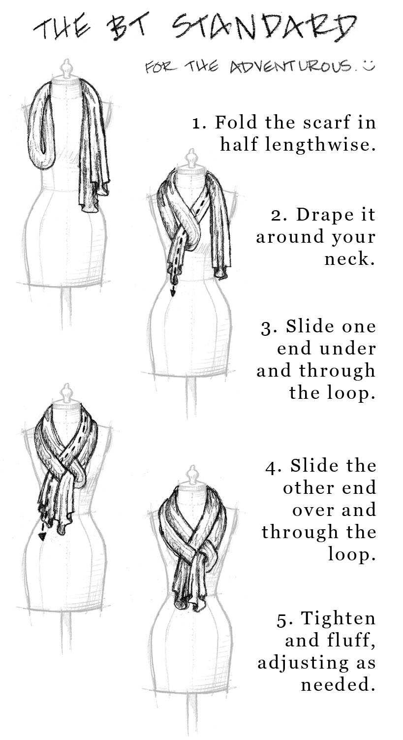how to tie a long scarf. Black Bedroom Furniture Sets. Home Design Ideas